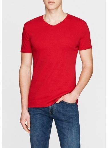 Mavi V Yaka Tişört Kırmızı